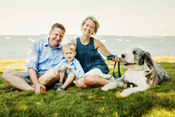 Liss Murphy, who had surgery to implant Deep Brain Stimulation for depression in 2006 and got much better, on Cape Cod in summer, 2014, with husband Scott, son Owen and sheepdog Ned. (Courtesy)
