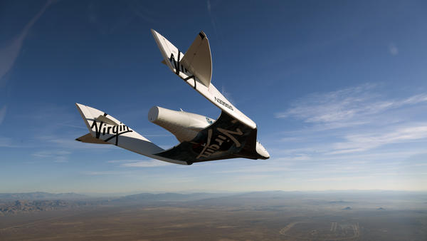 The commercial space ship, pictured here in an earlier test flight, crashed in the California desert.