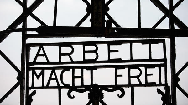 "The entrance to the former concentration camp in Dachau, Germany, bears the Nazi slogan ""Work Makes You Free."" The gate was stolen over the weekend."