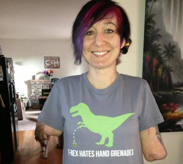 Mary Dague wearing one of her funny T-shirts. The former Army bomb technician lost both of her arms in Iraq.