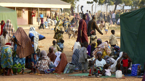 Displaced men, women and children fleeing Boko Haram have set up a temporary camp at the National Youth Service Corps Center in Damare, outside Yola, the capital of Adamawa state in northeast Nigeria. Aid workers say displaced people in Yola outnumber local residents.