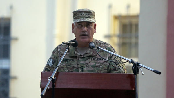 Gen. John F. Campbell, the top U.S. commander in Afghanistan, speaks during a ceremony in Kabul on Aug. 26. Campbell is overseeing the U.S. drawdown in the country after 13 years of war.