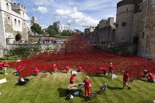 Volunteers install poppies on Aug. 3. Each poppy represents the 888,246 British military personnel who died in World War I.