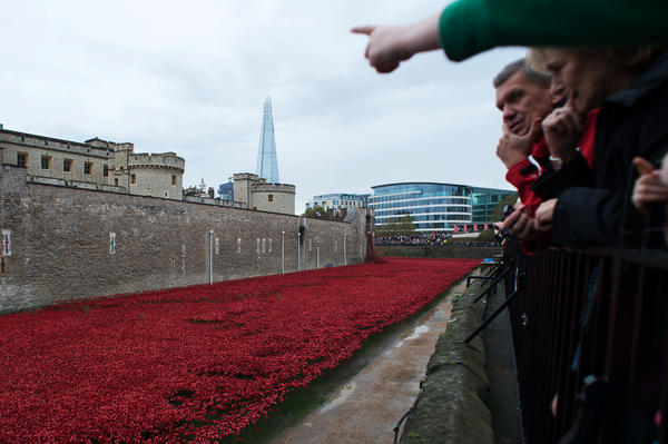 People look at the almost complete ceramic poppy art installation on Nov. 2.
