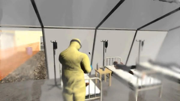 A screenshot from a demo of the Ebola-training video game.