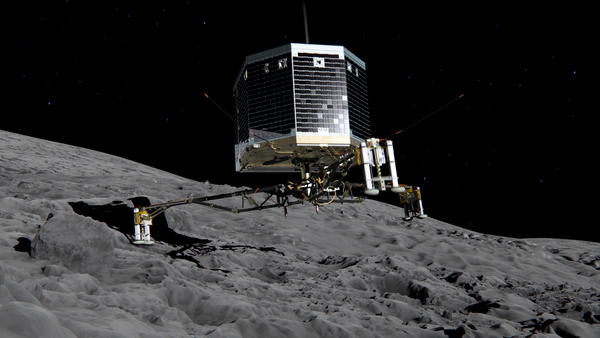 A photo illustration from the European Space Agency shows what a landing by the Philae robotic craft might look like on the 67P/Churyumov-Gerasimenko comet. The lander headed toward the comet Wednesday.