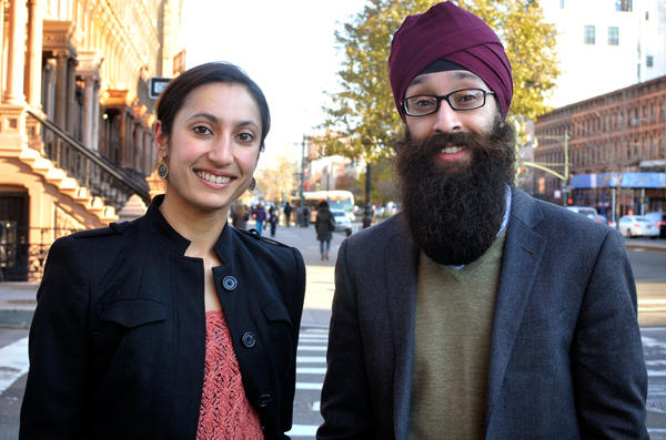 Manmeet Kaur and Prabhjot Singh in their neighborhood in Harlem.