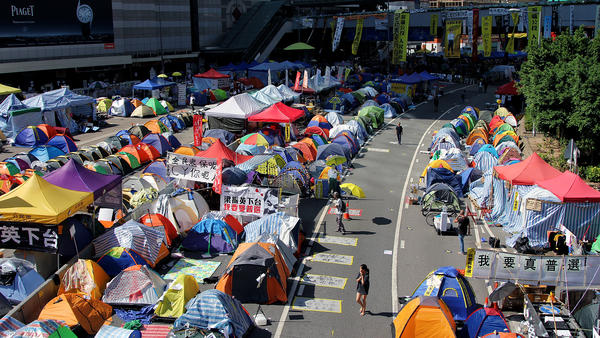 A census by protesters estimates the main protest camp in Hong Kong is home to about 2,200 tents, but most are empty these days as crowds have dwindled.