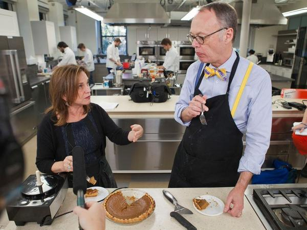 Chef Chris Kimball and NPR's Renee Montagne taste a Thanksgiving pumpkin pie.