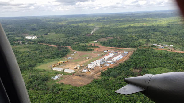 A helicopter's eye view of a new ETU, funded by USAID and built by Save the Children.