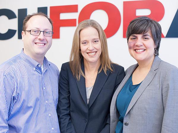 TFA at 25 years (from left): Matt Kramer, current co-CEO; Wendy Kopp, founder; Elisa Villanueva Beard, current co-CEO.