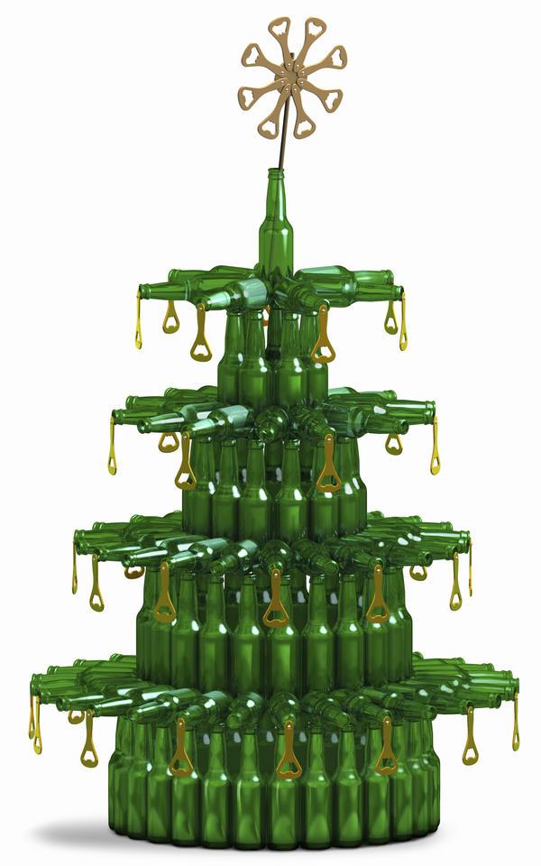 Beer bottle Christmas tree.