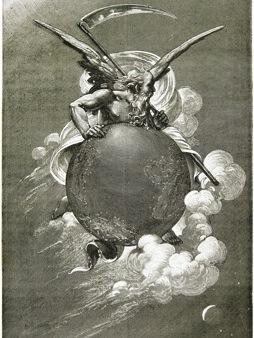 "1881: Illustration from French astronomer and prolific author Camille Flammarion's best-selling <em>L'Astronomie populaire</em> (Popular Astronomy). The caption reads: ""Carried away by time, vaulting towards a vanishing goal, Earth rolls speedily through space."" Apart from his science books, Flammarion also wrote science fiction."