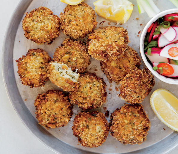 Crispy Fish Cakes with Pine Nuts and Fresh herbs. (Daniel Lailah)