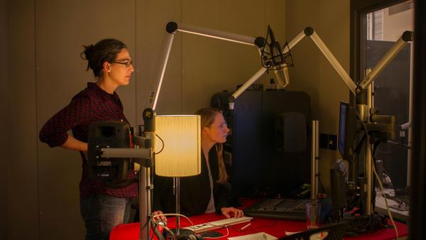 Sarah Koenig and producer Dana Chivvis in the studio.