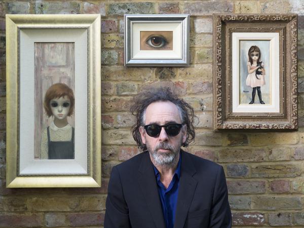 Director Tim Burton with his vintage Margaret Keane paintings.