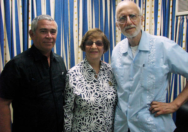 David Prinstein Senorans (left), vice president of Temple Beth Shalom in Havana, and Adela Dworin, president of the temple, visit imprisoned U.S. contractor Alan Gross at the Finlay military hospital in Havana in 2012.