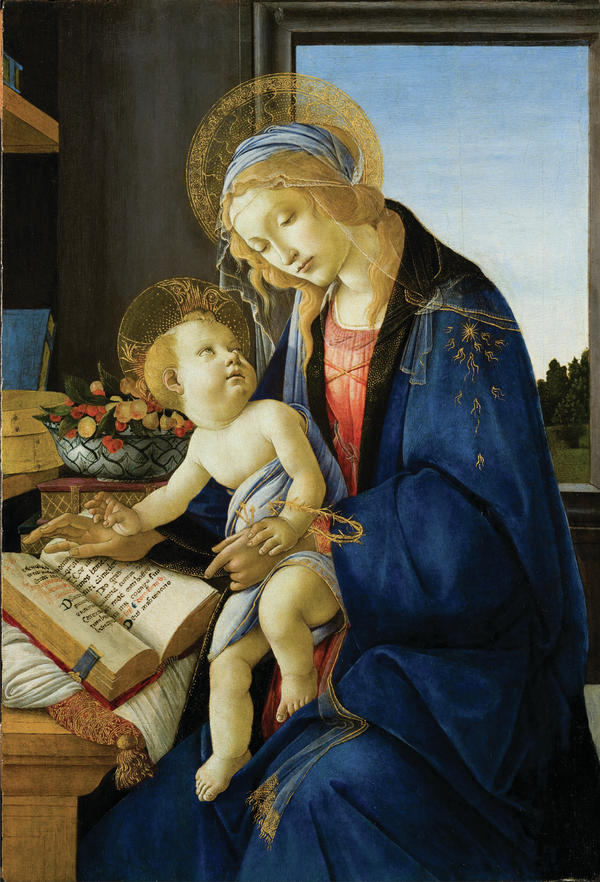 Sandro Botticelli's <em>Madonna and Child, </em>painted in 1480, shows a reflective Mary in deep blue.