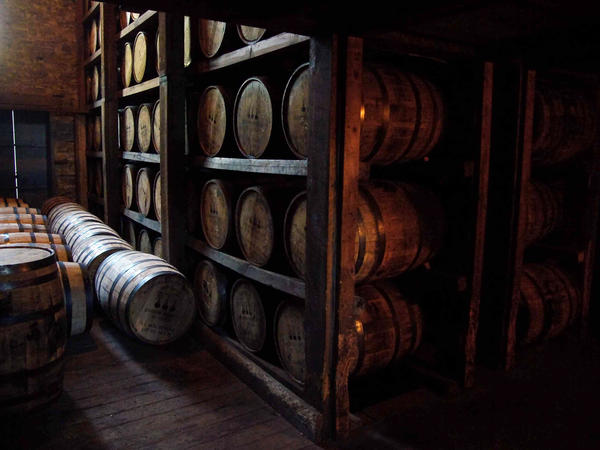 Aging bourbon at a distillery in Kentucky.