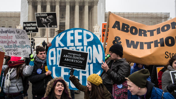 Protesters rally outside the Supreme Court during the March for Life on Jan. 25, 2013, in Washington, D.C.