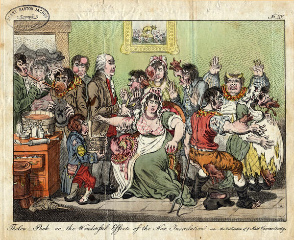 This did not really happen. Cows' heads did not emerge from the bodies of people newly inoculated against smallpox. But fear of the vaccine was so widespread that it prompted British satirist James Gillray to create this spoof in 1802.