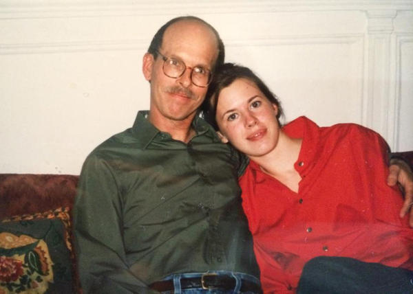 Elizabeth Blake with her father, Dennis Riley, in 1997. (Courtesy)