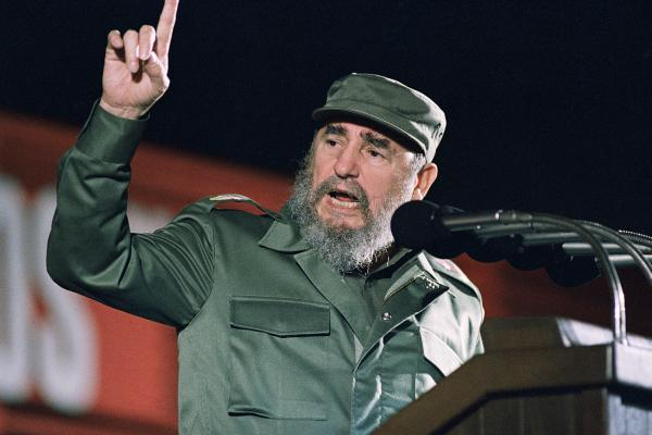 Cuban leader Fidel Castro speaks at the 30th anniversary of the communist revolution on Jan. 1, 1989, in Havana. Castro died Friday at age 90.