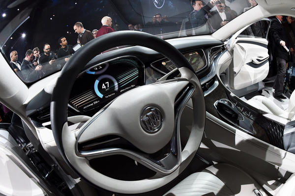 General Motors reveals the new Buick Avenir concept vehicle to the media on the eve of the Detroit auto show.
