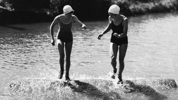 Catherine Gauthier and Bette Berkeley, who at 17 won a 1939 national women's logrolling title in Longview, Wash.