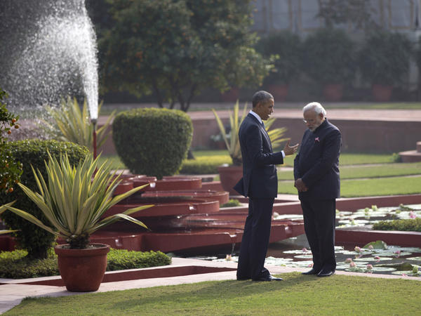 Obama and Indian Prime Minister Narendra Modi talk in New Delhi. Obama's visit to Pakistan's much larger, more prosperous neighbor was destined to grate on Pakistani nerves.