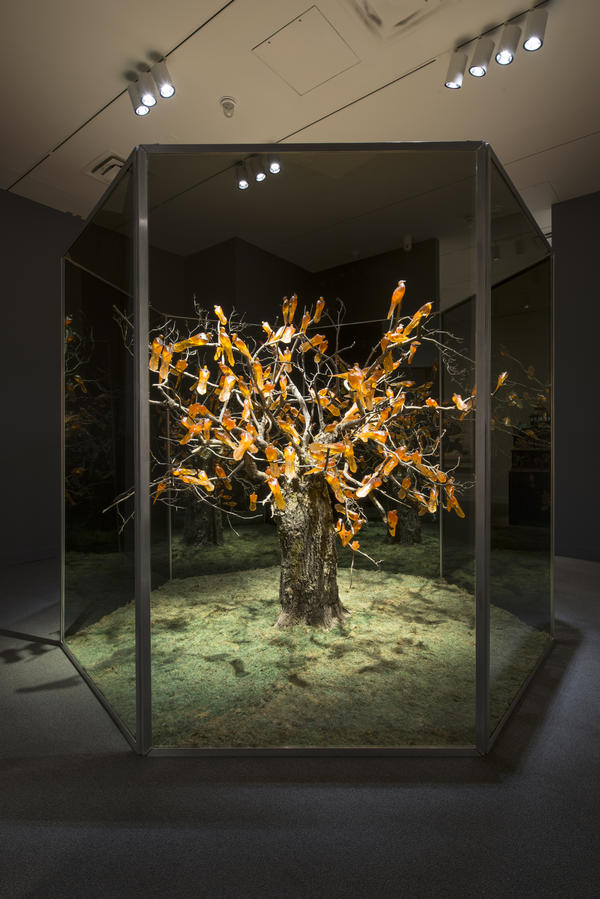 The orange birds in Rachel Berwick's 2009 <em>Zugunruhe </em>are casts of passenger pigeons, a species that is now extinct.