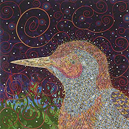 Fred Tomaselli, <em>Woodpecker</em>, 2008, acrylic, gouache, collage and epoxy resin on wood