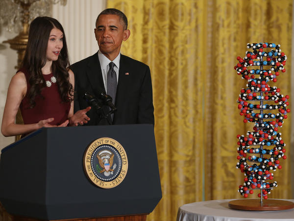 Harvard University student Elana Simon introduces President Obama before he spoke at the White House Friday about an initiative to encourage research into more precise medicine.