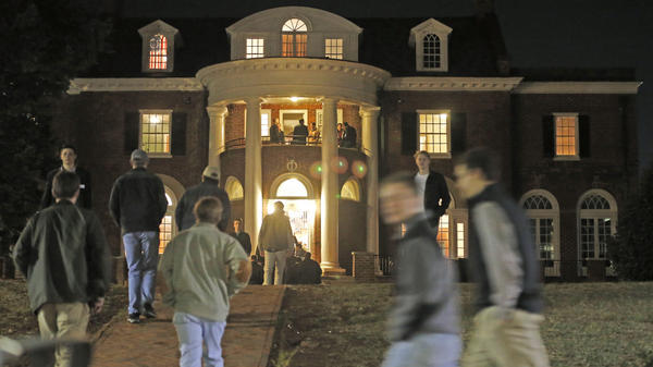 University of Virginia students walk to fraternities at the start of rush week. Sorority women are always invited to Boys' Bid Night, but this year national sororities have ordered women to stay clear.