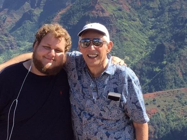 """Robert Schwimmer, 66, and his son Scott Schwimmer, 21, spoke with NPR about Robert's wish to hasten his death under certain circumstances. Here — as in the family photo above — they're in Kauai, Hawaii, on the family's """"last big trip"""" after Robert received a 6-month prognosis in October."""