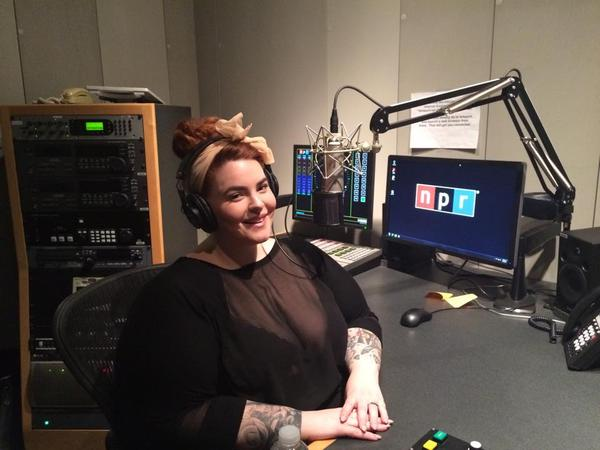 Tess Holliday is pictured in the NPR studios, speaking with Here & Now. (Facebook)