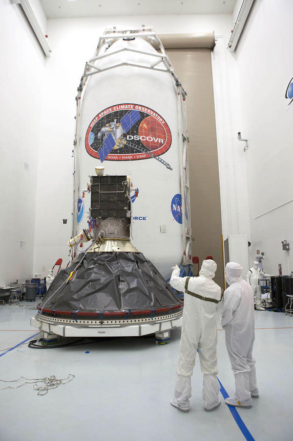 Preparations to launch NOAA's Deep Space Climate Observatory spacecraft are nearing completion in Titusville, Fla., near Kennedy Space Center.