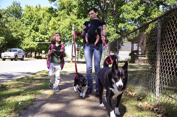 Juniper Russo walks her dogs with her daughter Vivian (left).
