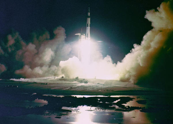 Liftoff of the Apollo 17 Saturn V Moon Rocket from Pad A, Launch Complex 39, Kennedy Space Center, Florida, at 12:33 a.m., December 7, 1972. (NASA Flickr Commons)