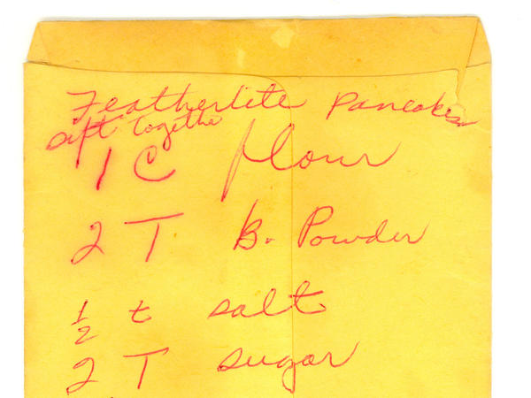 "An undated recipe for ""featherlite"" pancakes, written in Parks' hand, is also part of the archive."