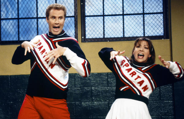 "Will Ferrell and Cheri Oteri play ""Spartan Cheerleaders"" in a skit on ""Saturday Night Live."" (Mary Ellen Matthews/NBC via AP)"