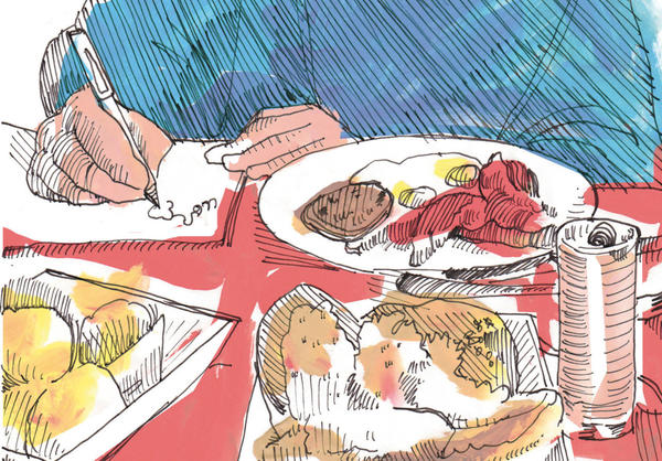 Danny Gregory sketched this picture of himself sketching breakfast. (Danny Gregory)