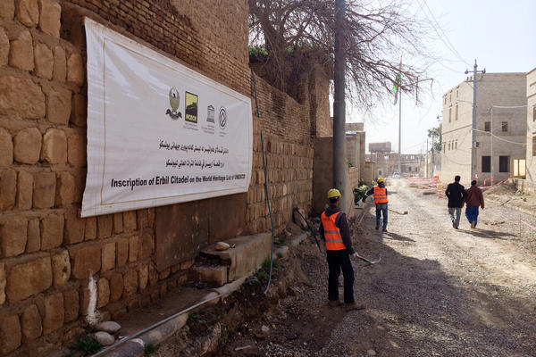 Construction workers at the Erbil Citadel, which was named a UNESCO World Heritage Site last year.