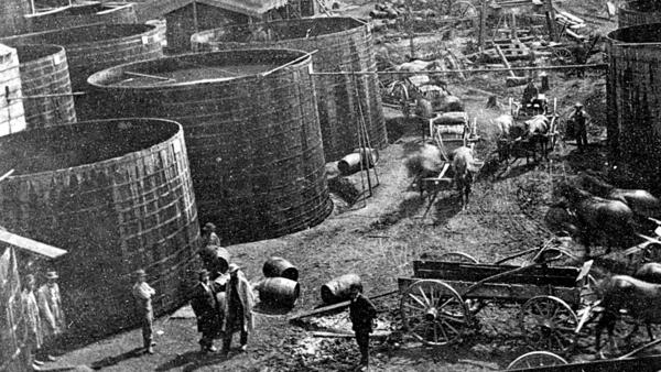 Tanks holding oil in Pithole, Pa., in 1868. Samuel Van Syckel built his first pipeline over just five weeks in 1865. At 2 inches in diameter, it was tiny by modern standards — but it was an engineering marvel.