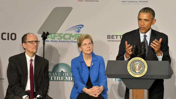 President Obama remarks on his proposal to tighten consumer protections for people saving for retirement as Sen. Elizabeth Warren and Labor Secretary Tom Perez listen, at AARP on Monday.