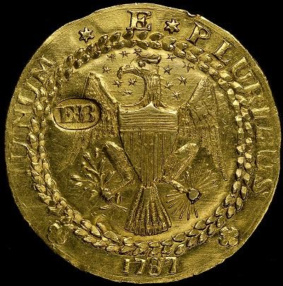 This rare Brasher Dubloon was minted in the United States in 1787. (Courtesy of American Numismatic Association)