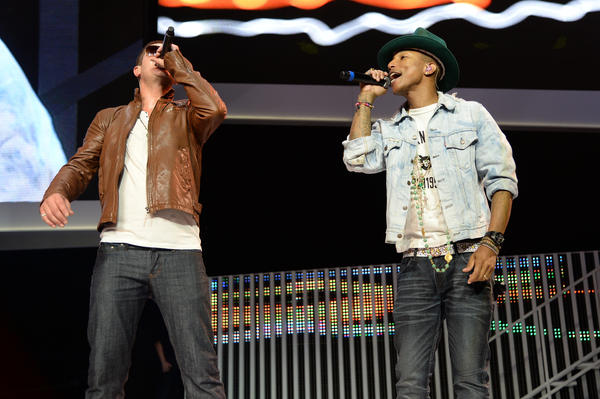 """A jury in Los Angeles decided Tuesday that Robin Thicke (left) and Pharrell Williams lifted parts of Marvin Gaye's 1977 hit """"Got To Give It Up."""""""