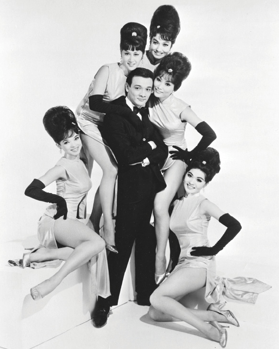 "In this mid-1960s publicity photo, singer Jimmy ""Jay"" Borges poses with, from left to right, Joanna Pang, Arlene Wing, Kako Tani, Sisko Borges (Borges' then-wife) and Cynthia Fong."