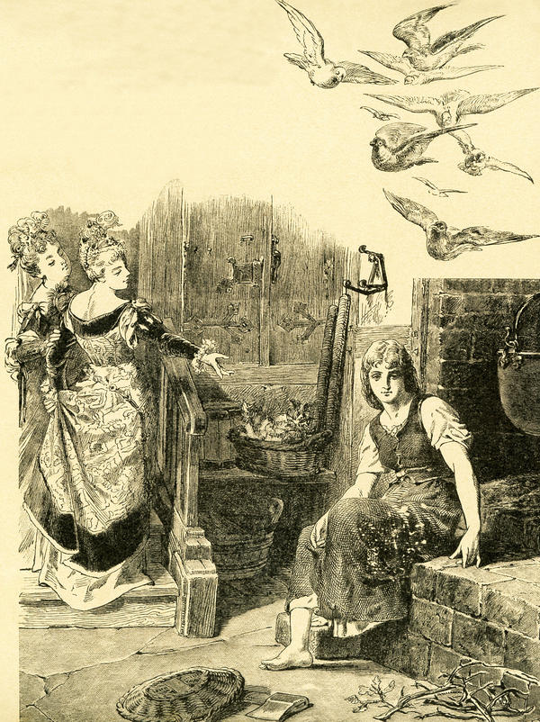 "In 1812, the Brothers Grimm, Jacob and Wilhelm, published <em>Children and Household Tales</em>, a collection German fairy tales. This illustration accompanied the tale ""Cinderella"" and shows Cinderella being left by her stepsisters to do the housework. This image is from <em>Grimms Eventyr</em> (Grimm's Fairy Tales) by Carl Ewald, published in 1922."