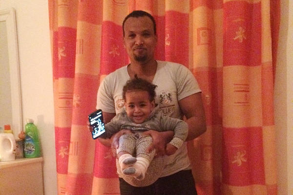 Born in Malta, Lucky is shown here with her father, Hussein Mohamed Abdi.